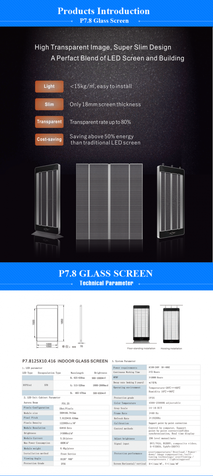Sales mall p7.8 indoor RGB color transparent glass led display in the window